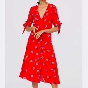 H&M NWT red floral midi ties at sleeves size 2